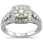 1.10ct 14k Two Tone Gold Engagement Diamond Ring Size 6.5