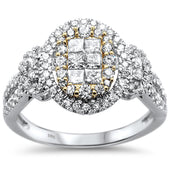 1.06ct 14k Two Tone Gold Diamond Ring Size 6.5