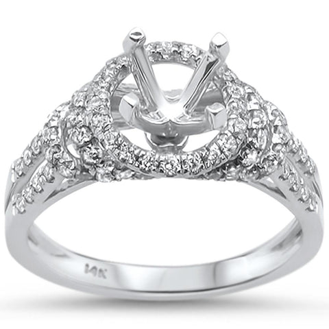 .68ct 14k White Gold Diamond Semi Mount Ring Size 6.5