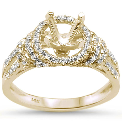 .68ct 14k Yellow Gold Diamond Semi Mount Ring Size 6.5
