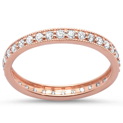 .49ct 14k Rose Gold Milgrain Diamond Eternity Ring Size 6.5