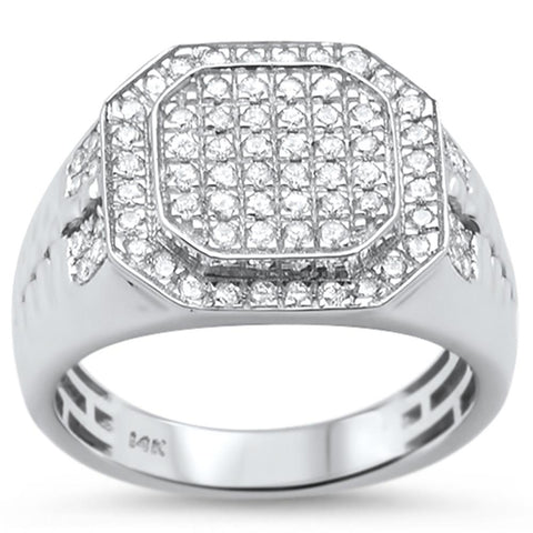 .97ct 14k White Gold Men's Diamond Wedding Signet Ring Size 10