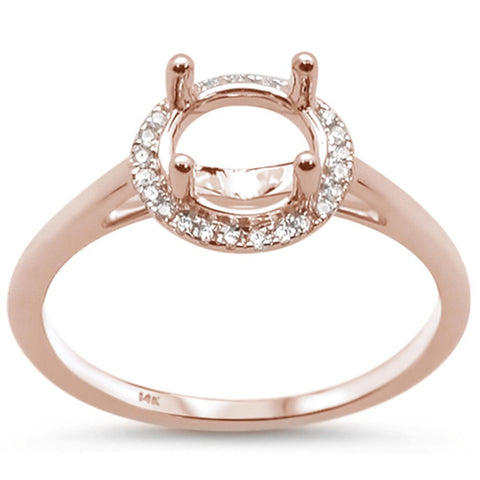 .07ct 14k Rose Gold Diamond Halo Semi Mount Ring Size 6.5