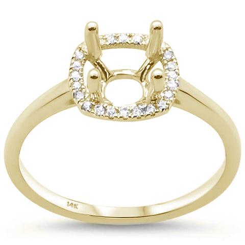 .09cts 14k Yellow Gold Diamond Semi Mount Ring Size 6.5