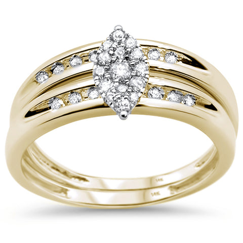 .27ct 14KT Yellow Gold Marquise Engagement Ring Wedding Bridal Set Sz 6.5