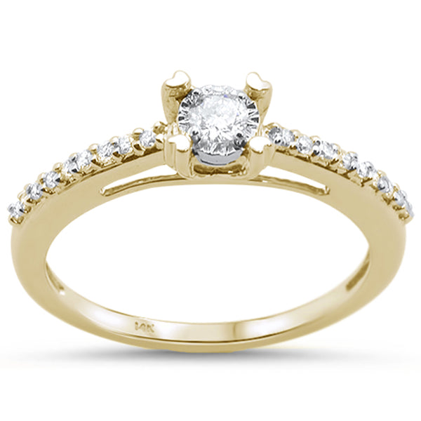 .18cts 14k Yellow Gold Round Diamond Solitaire Engagement Ring Size 6.5