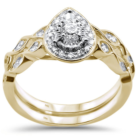 .33ct 14KT Yellow Gold Diamond Pear Shape Bridal Engagement Set Size 6.5