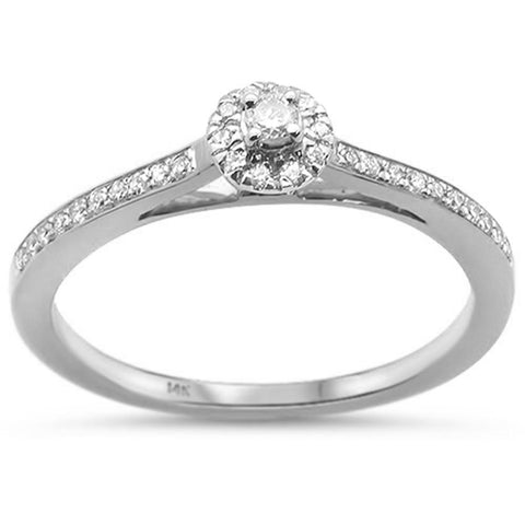 .17ct 14k White Gold Diamond Promise Engagement Wedding Ring Size 6.5
