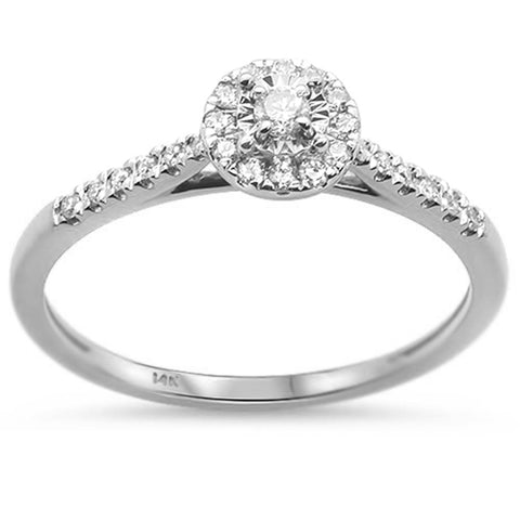 .15cts 14k White Gold Diamond Solitaire Engagement Promise Ring Size 6.5