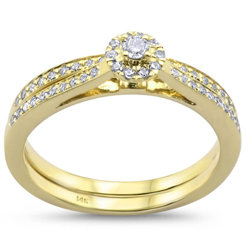 .24cts 14k Yellow Gold Round Diamond Engagement Ring Bridal Set Size 6.5
