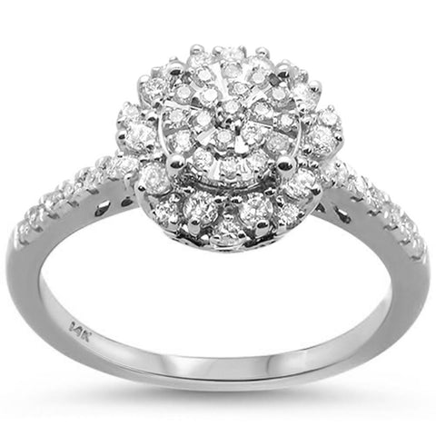 .48ct 14k White Gold Round Diamond Engagement Wedding Ring Size 6.5