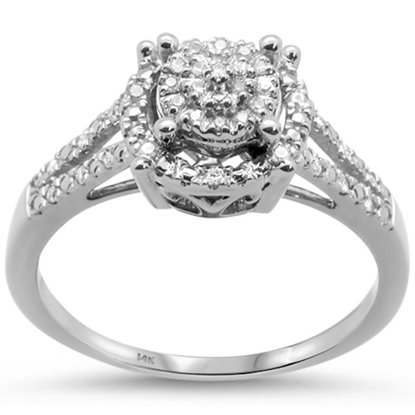 .13cts 14k White gold Diamond Solitaire Engagement Ring Size 6.5
