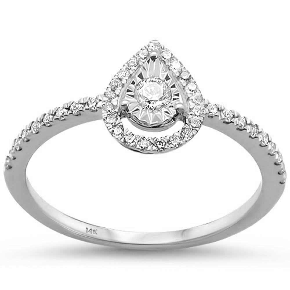 .27ct 14k White Gold Diamond Promise Pear Engagement Wedding Ring Size 6.5
