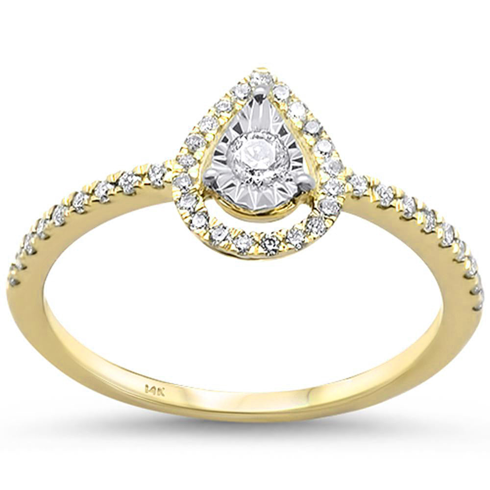 .24ct 14k Yellow Gold Diamond Pear Shaped Engagement Wedding Ring Size 6.5