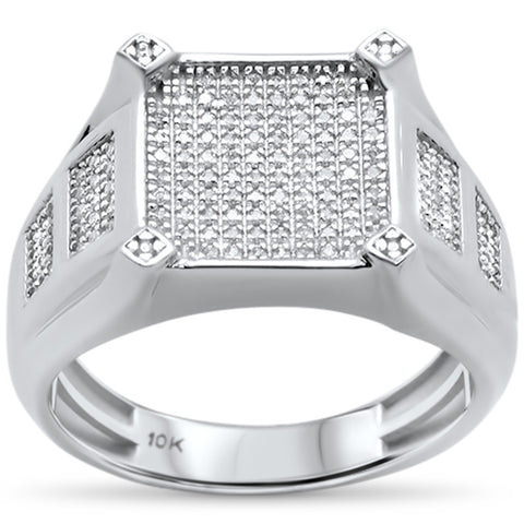 Men's .37ct 10k White Gold Diamond Ring Size 10