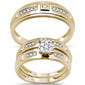 .26cts 10k Yellow Gold Diamond Engagement Ring Wedding Band Trio Set