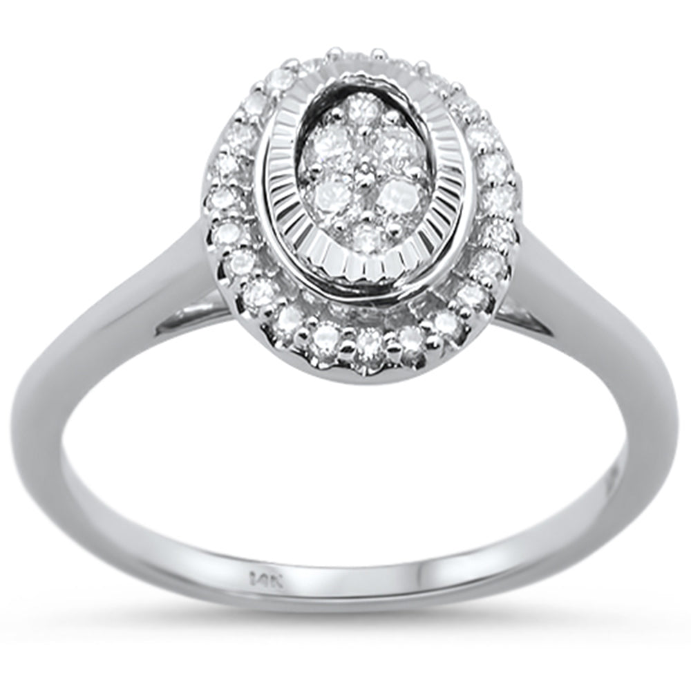 .25cts 14k White gold Oval Shaped Diamond Solitaire Engagement Ring