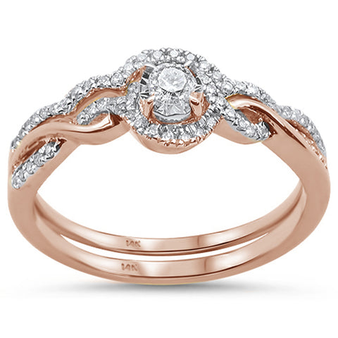 .26cts 14k Rose Gold Diamond Solitaire Engagement Ring Bridal Set Size 6.5
