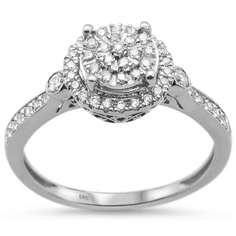 .35ct 14k White Gold Diamond Round Engagement Wedding Ring Size 6.5