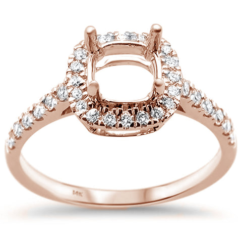 .42cts 14k Rose Gold Diamond Semi Mount Ring Size 6.5