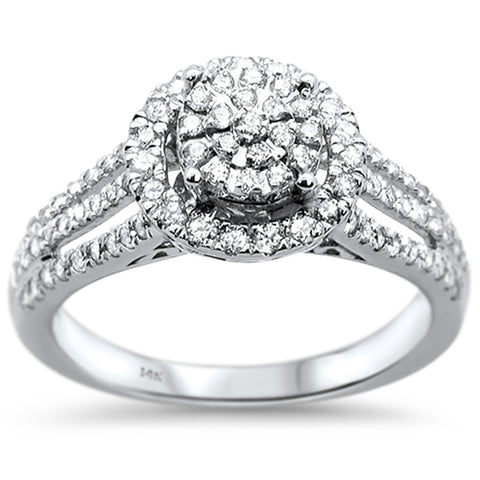 .54ct 14k White Gold Round Diamond Engagement Wedding Ring Size 6.5