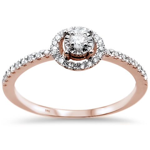 .25ct 14k Rose Gold Diamond Round Promise Engagement Wedding Ring Size 6.5