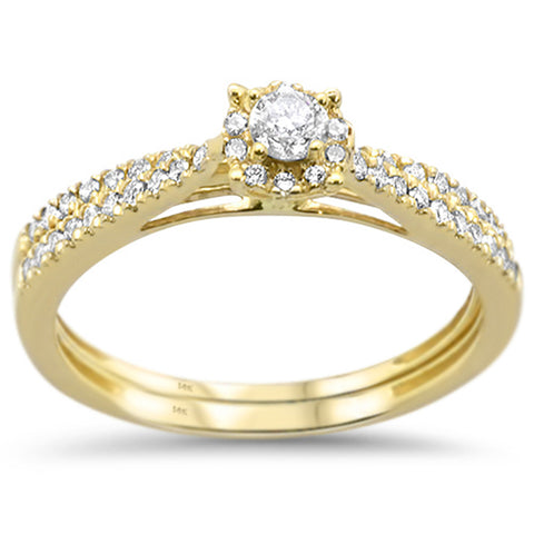 .42ct 14k Yellow Gold Diamond Promise Engagement Wedding Set Ring Size 6.5