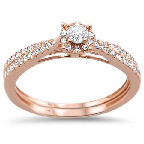 .39ct 14k Rose Gold Diamond Engagement Promise Wedding Set Ring Size 6.5
