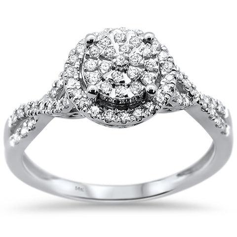 .32ct 14k White Gold Round Diamond Engagement Wedding Ring Size 6.5