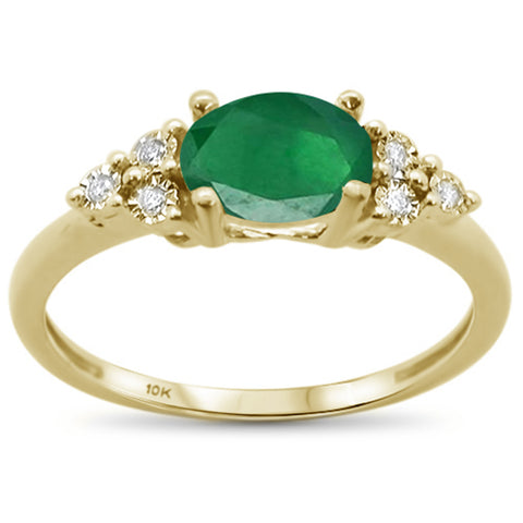 1.23ct 10k Yellow Gold Oval Emerald & Diamond Ring Size 6.5