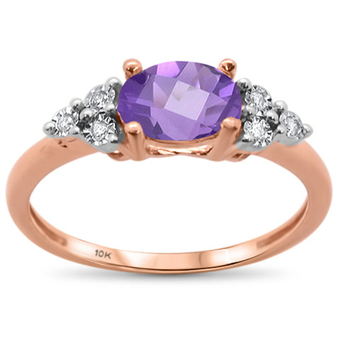 .99ct 10k Rose Gold Oval Amethyst & Diamond Ring Size 6.5
