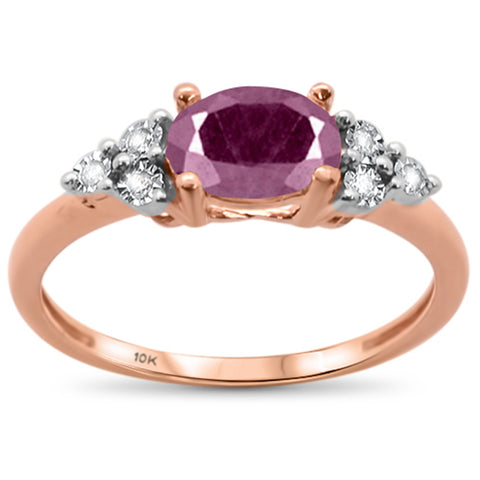 1.4ct 10k Rose Gold Oval Ruby & Diamond Ring Size 6.5