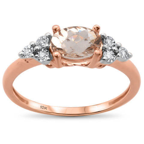 1.06ct 10k Rose Gold Oval Morganite & Diamond Ring Size 6.5