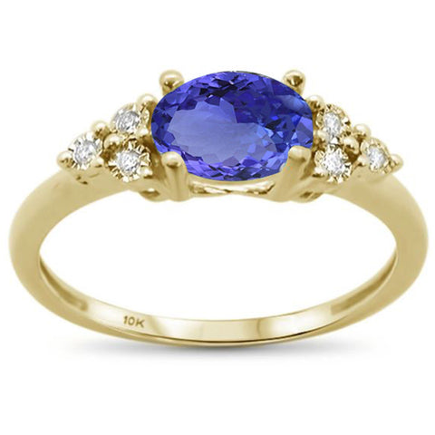 .72ct 10k Yellow Gold Oval Tanzanite & Diamond Ring Size 6.5