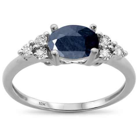 1.29ct 10k White Gold Oval Blue Sapphire & Diamond Ring Size 6.5