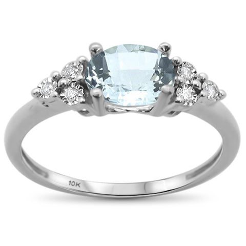 .96ct 10k White Gold Oval Aquamarine & Diamond Ring Size 6.5
