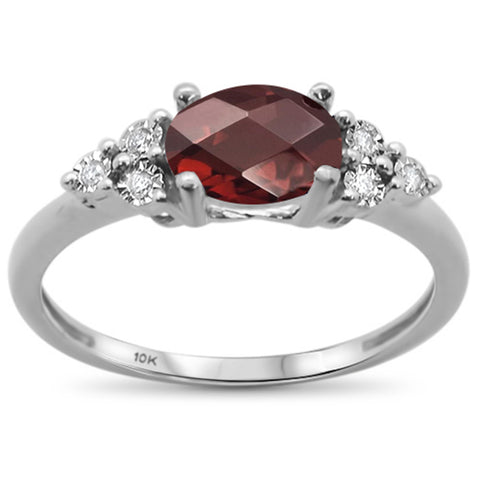 1.23ct 10k White Gold Oval Garnet & Diamond Ring Size 6.5