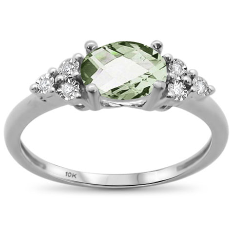 1.02ct 10k White Gold Oval Green Amethyst & Diamond Ring Size 6.5