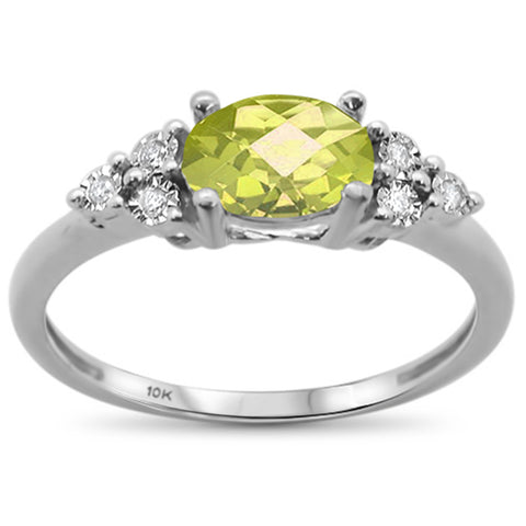 .97ct 10k White Gold Oval Lemon & Diamond Ring Size 6.5