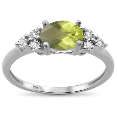 1.23ct 10k White Gold Oval Peridot & Diamond Ring Size 6.5