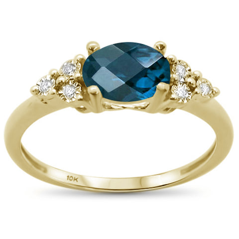 1.17ct 10k Yellow Gold Oval Blue Topaz & Diamond Ring Size 6.5