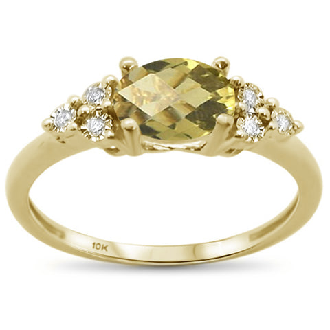 1.00ct 10k Yellow Gold Oval Olive & Diamond Ring Size 6.5