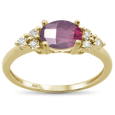1.27ct 10k Yellow Gold Oval Rhodolite & Diamond Ring Size 6.5