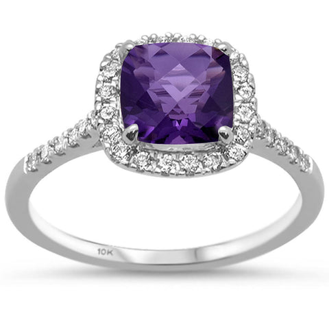 1.56ct 10k White Gold Cushion Amethyst & Diamond Ring Size 6.5