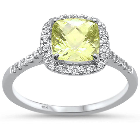 1.56ct 10k White Gold Cushion Lemon & Diamond Ring Size 6.5
