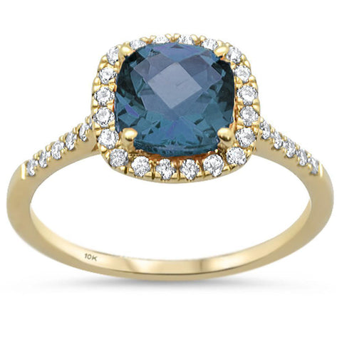 1.96ct 10k Yellow Gold Cushion Blue Topaz & Diamond Ring Size 6.5