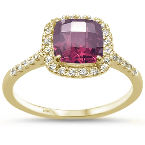 1.86ct 10k Yellow Gold Cushion Rhodolite & Diamond Ring Size 6.5