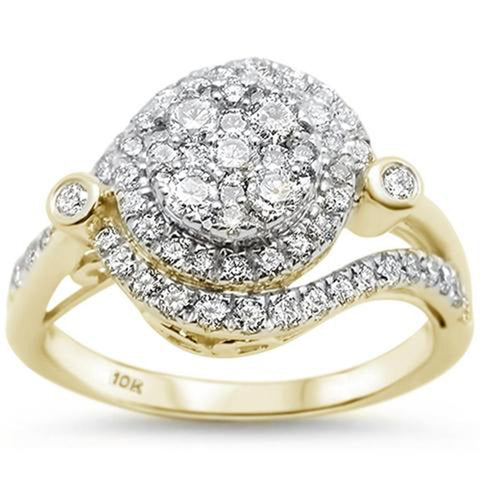 .97ct 10kt Yellow Gold Round Diamond Engagement Wedding Ring Size 6.5