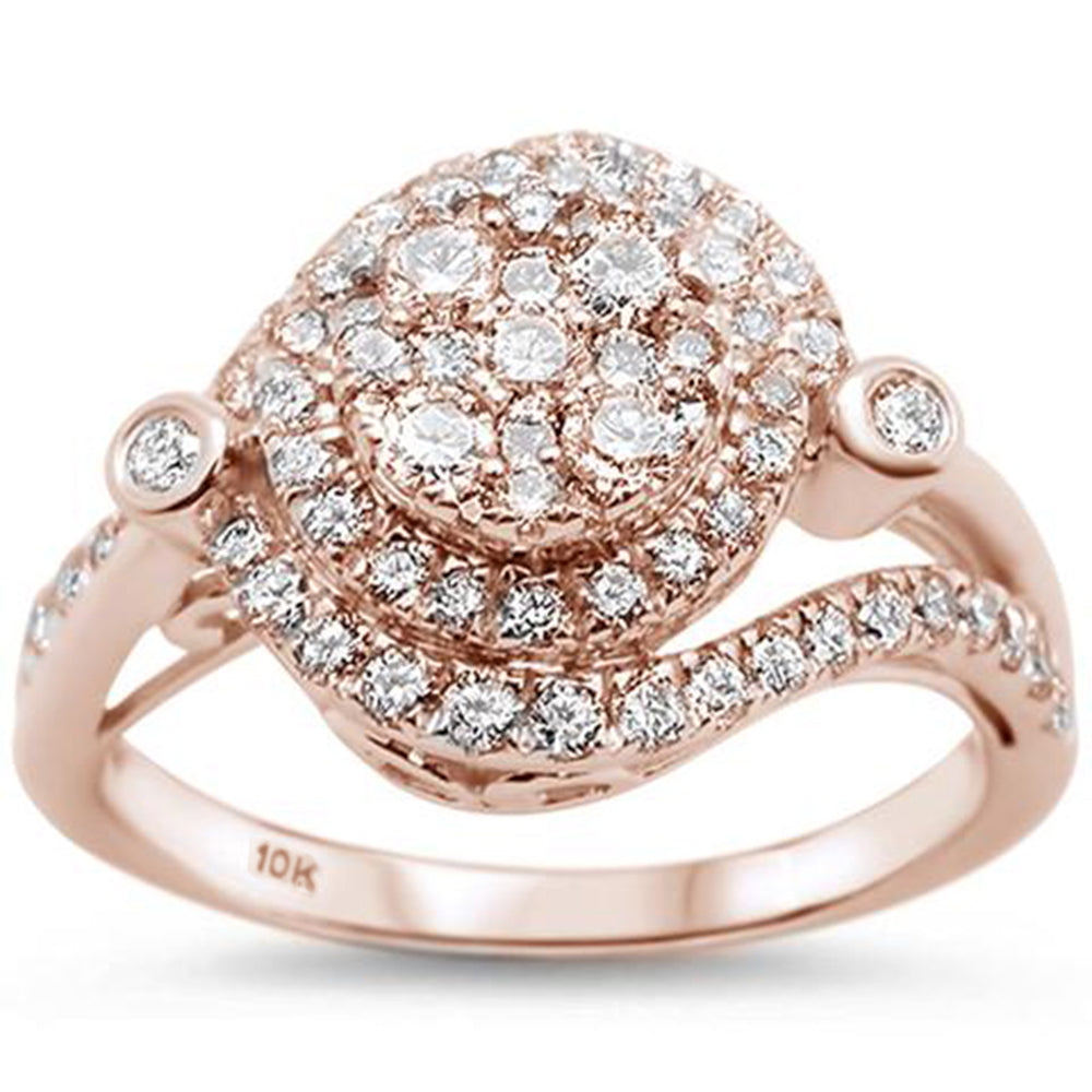 "<span style=""color:purple"">SPECIAL!</span>.97ct 10kt Rose Gold Round Diamond Engagement Wedding Ring Size 6.5"