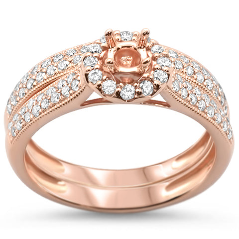 .58ct 14k Rose Gold Semi-Mount Engagement Bridal Ring Size 6.5